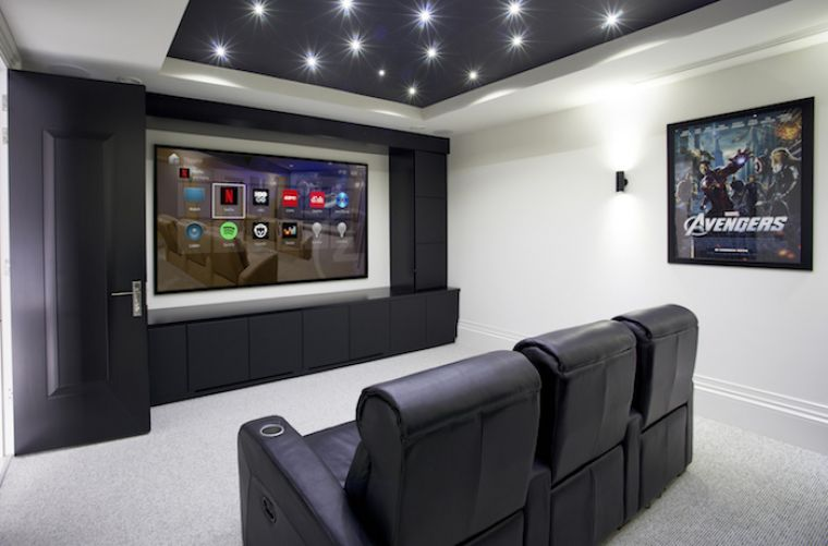 Entertainment space - with a large screen in modern black & white setting with 3 large chairs in front