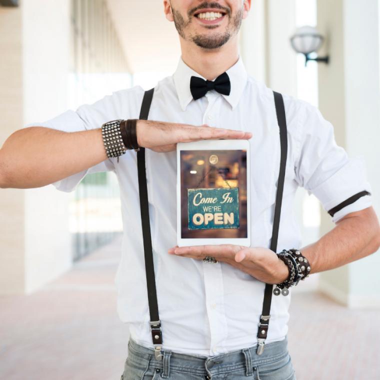 Digital Signage - Man holding Fun Sign