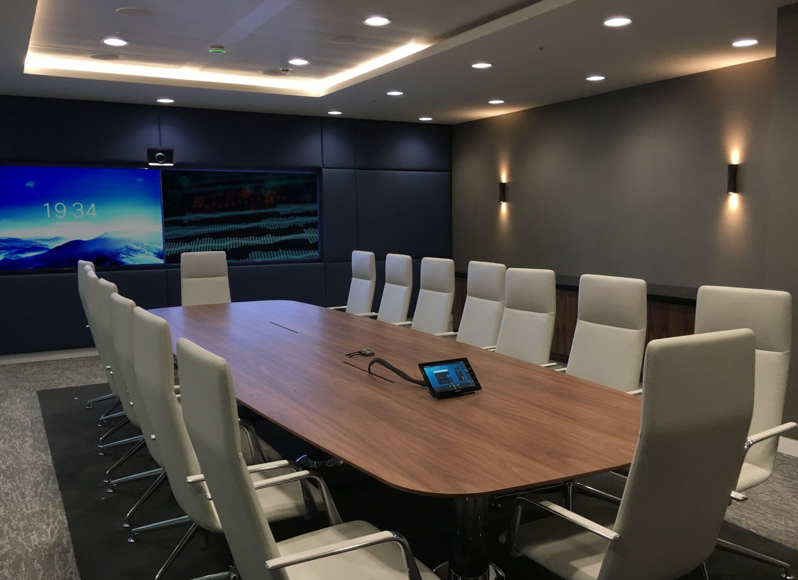 Meeting room with visual audio setup