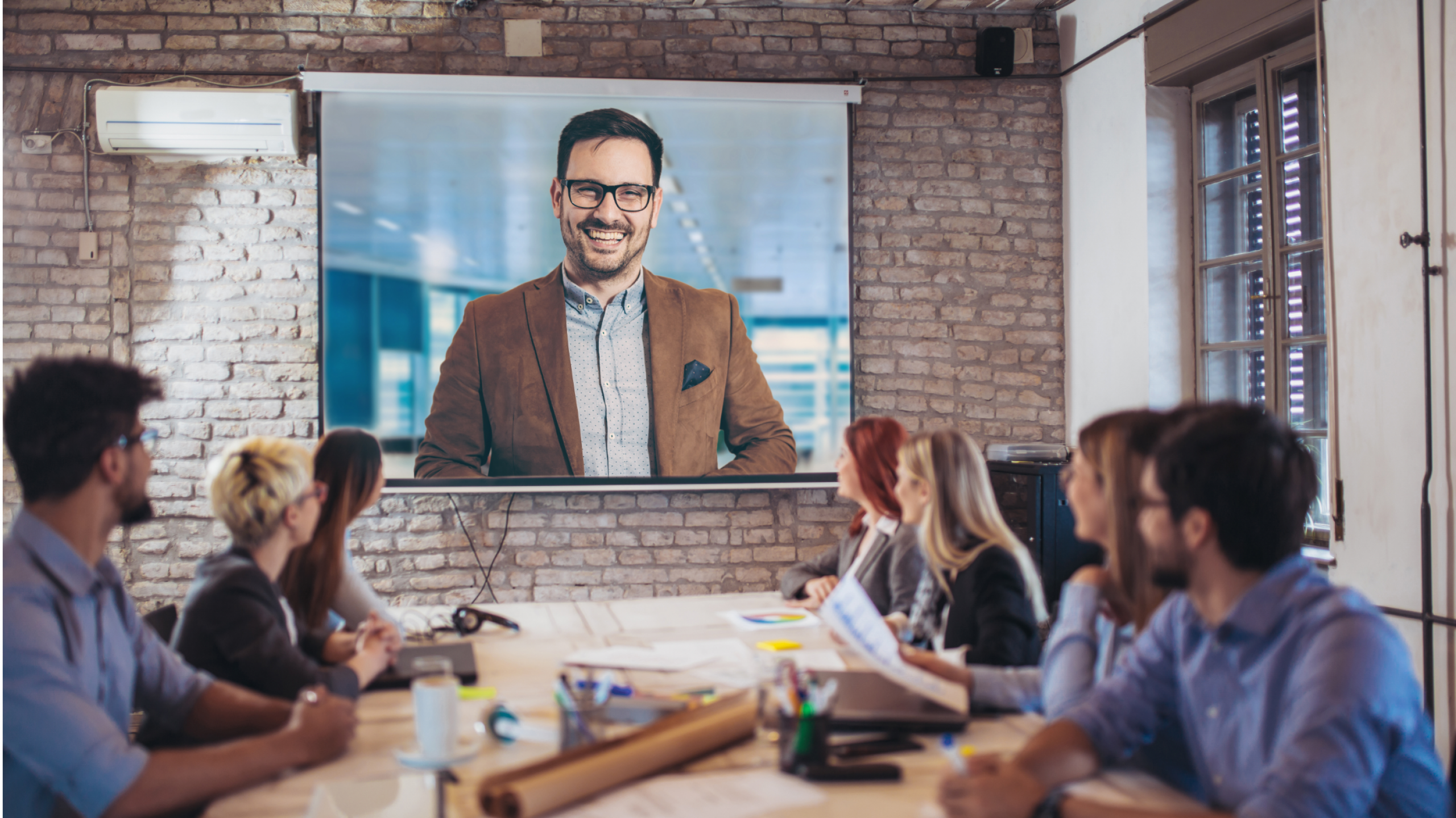 Video Conference - large pic of presenter Image