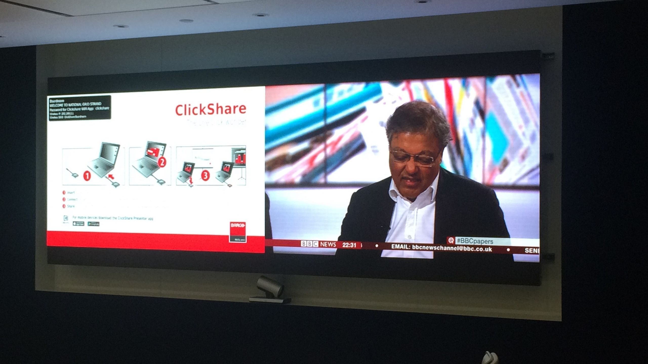 NG Large screen in use showing BBC presenter.